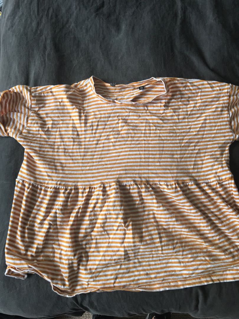 Glassons yellow and white striped babydoll top