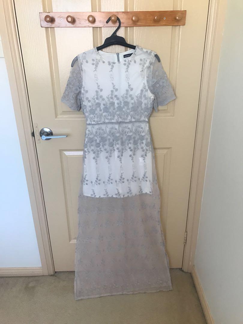 Grey sheer maxi dress