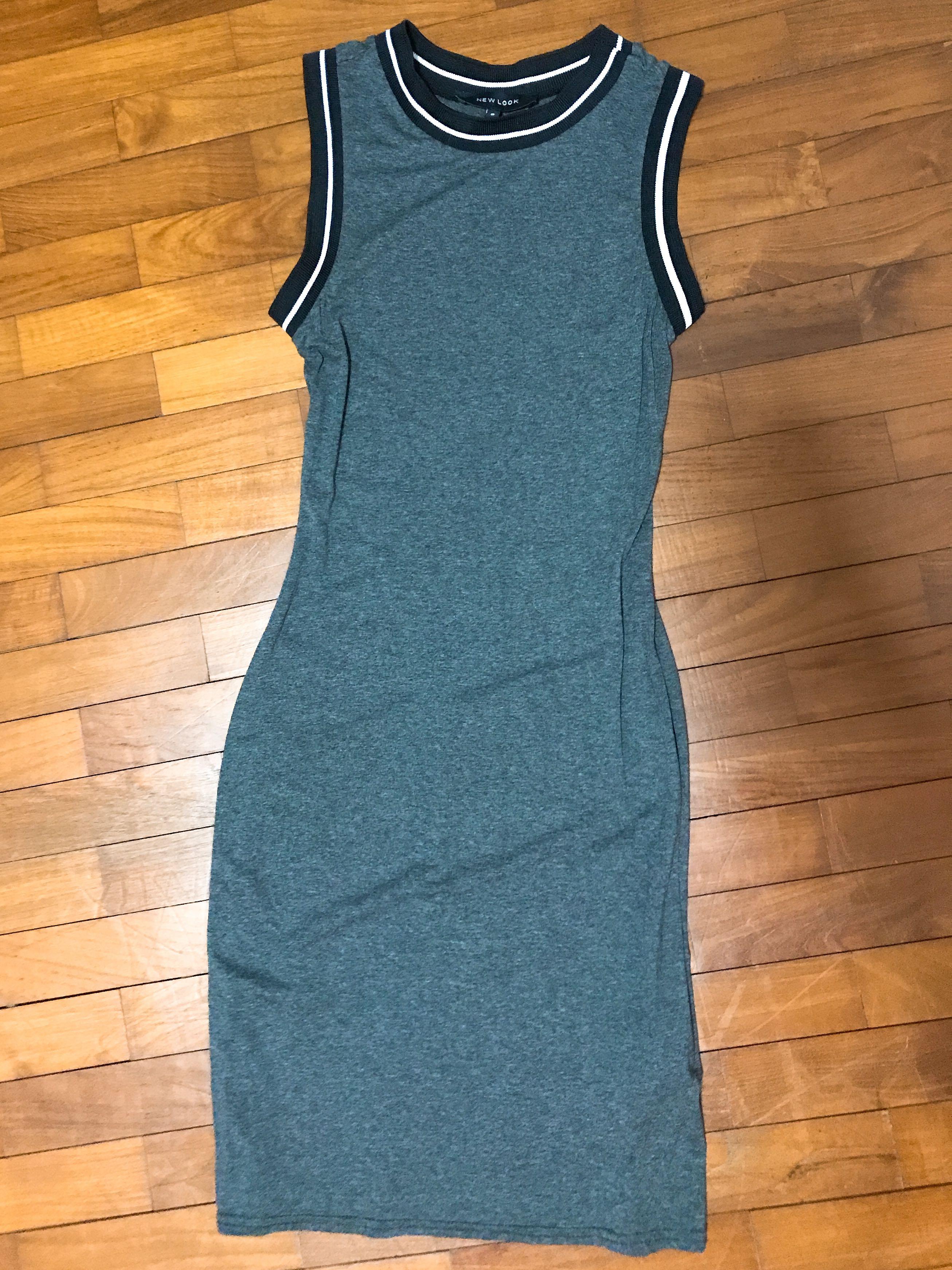 Grey Stripe Bodycon Dress