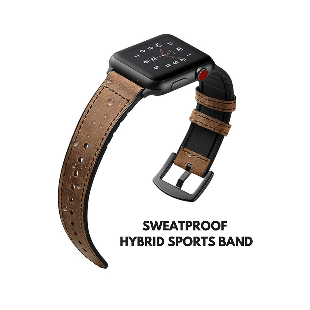 In Stock Apple Watch 38mm 42mm Genuine Leather Band Strap Spigen Stand Night S350 Volt Black Premium Replacement Compatible With Series 1 2 3 Sports Edition