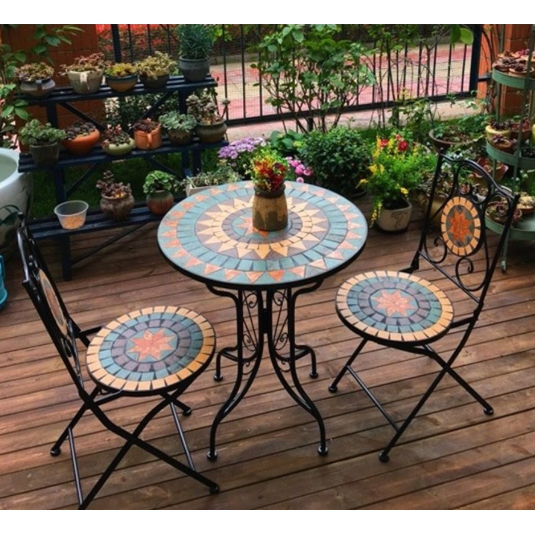 Outdoor Balcony Mediterranean Coffee Table And Chair Furniture