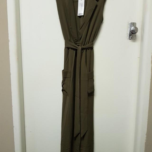 Paige kharki sleeveless belted midi dress size 10