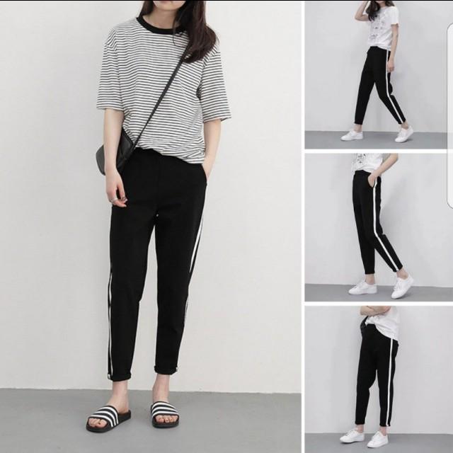 PO] Korean Ulzzang Black Striped Pants/Joggers, Women's
