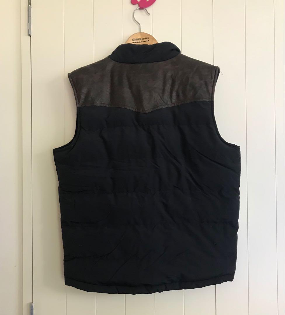 Sleeveless Leather Trim Puffer Jacket