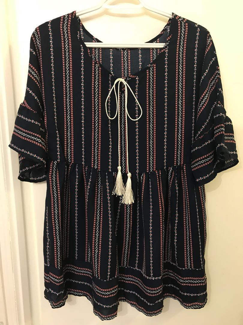 Striped Empire Waist Top - Size Large