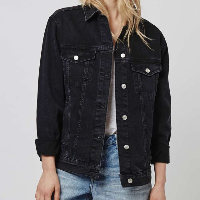 lowest price good looking cute cheap TOPSHOP BLACK DENIM JACKET, Women's Fashion, Clothes ...