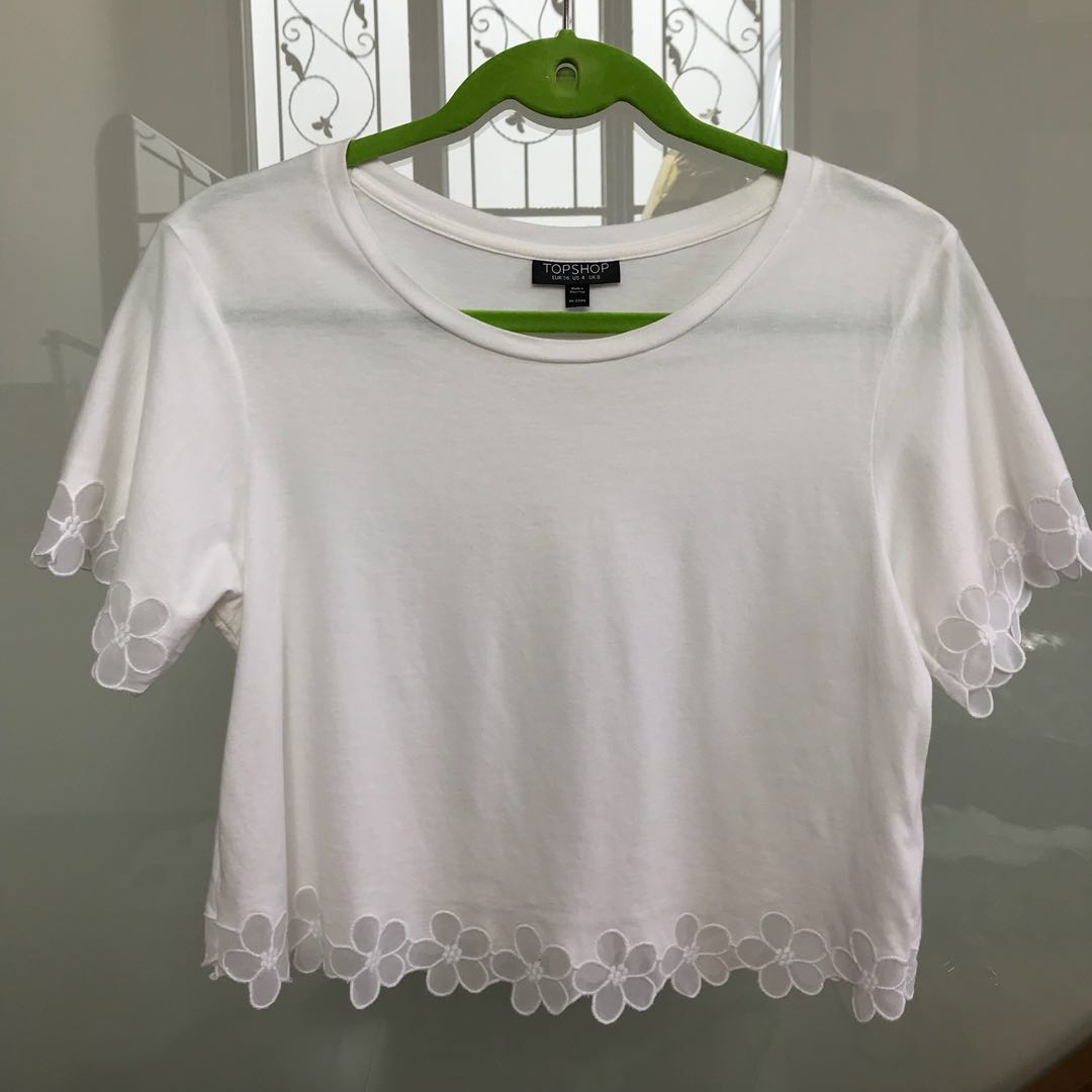 White Flower Sleeve Crop Top Womens Fashion Clothes Tops On