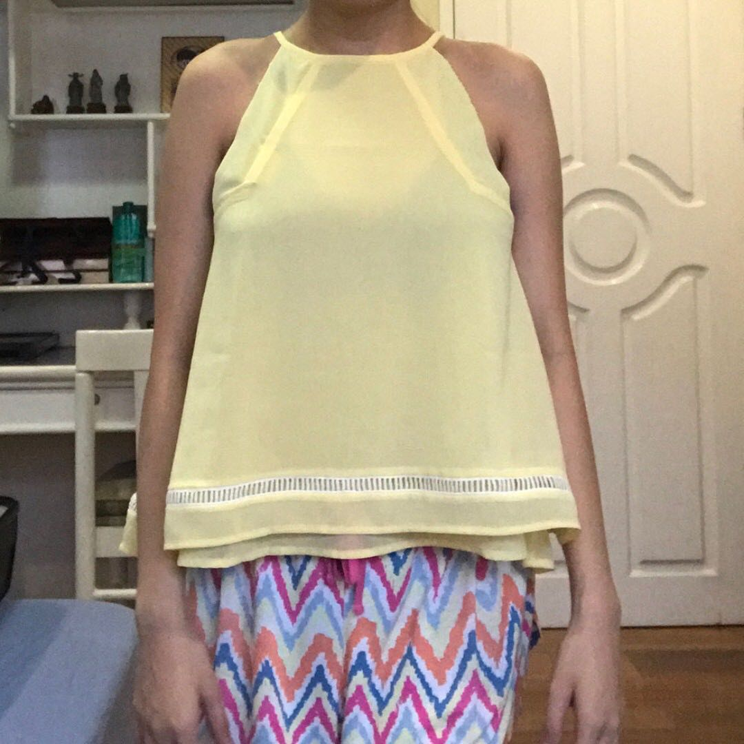 Yellow Halter Trapeze Top XS