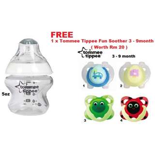 Tommee Tippee Clear Bottle 5oz ( Free 1 Tommee Tippee Soother )
