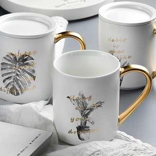 PO Nordic Style Painted Ceramic Gold Handle Coffee Mug
