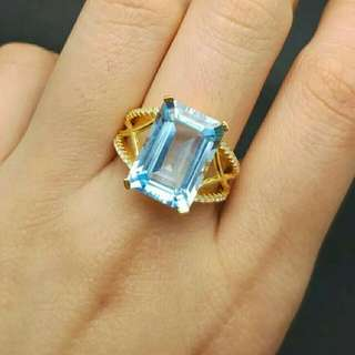 Ladies Natural Blue Topaz 925 Sterling Silver Ring