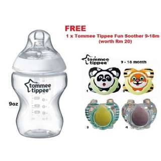 Tommee Tippee Clear Bottle 9oz ( Free 1 Tommee Tippee Soother )