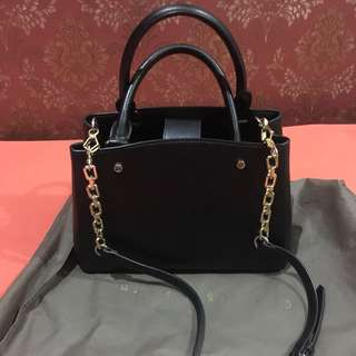 Charles & Keith Black Gold Chained Sling Bag