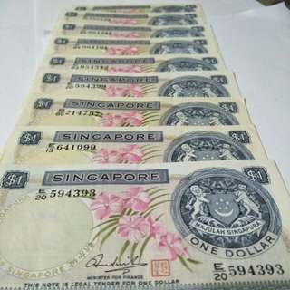 Sg old $1 notes 9pc x6