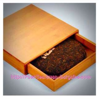 Chinese Puer Tea Leaves Round Cake Single-tier Drawer Tray Bamboo Storage Box