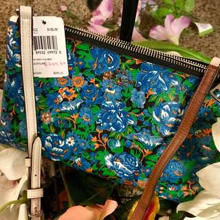 Coach Multi Blue Floral Crossbody Bag with Double Zip