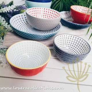 Repeat Assorted Patterns Dotted Prints Rice Bowl Cereal / Soup Bowl Pasta Dish Plate Dinnerware Diningware Dining Dishes Tableware Serveware