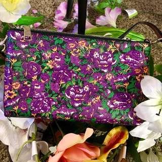 Coach Multi Violet Floral Cross Body Bag Double Zip