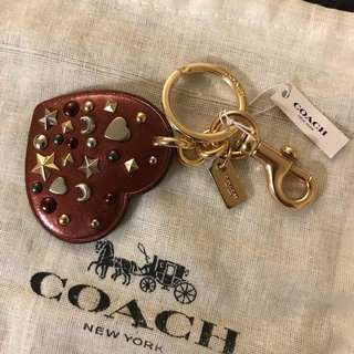 Coach Leather Heart Bag Charm / Key Chain