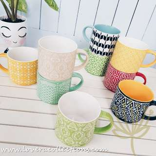 Retro Assorted Prints / Colors Stackable Coffee Mug Colorful Drinkware Tea (PLS READ INFO)