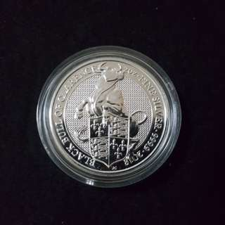 QUEEN BEAST 2 OZ Blackbull 2 troy ounce silver coin