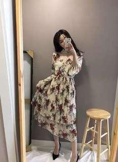 正韓碎花蕾絲洋裝