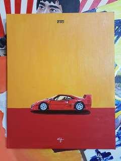 "Ferrari F40 Acrylic 16x20"""