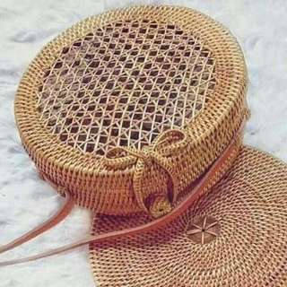 Boho style Woven Round Bags From Bali Indonesia