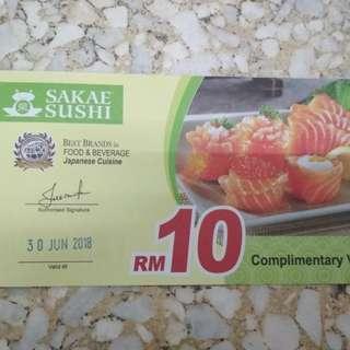 Sakae Sushi RM10 off Voucher