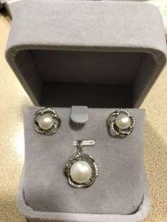 純銀925淡水珍珠耳環吊咀套裝