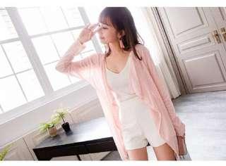 🚚 輕盈薄感垂邊開襟外套~粉色