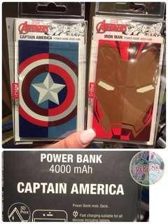 HK disney iron man /美國隊長 power bank 行動電源