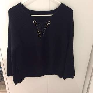 Black Knitwear Top