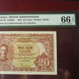 Extremely rare ,Malaya 20 cent 1941 variety  a with dot on design and graded at PMG 66EPQ