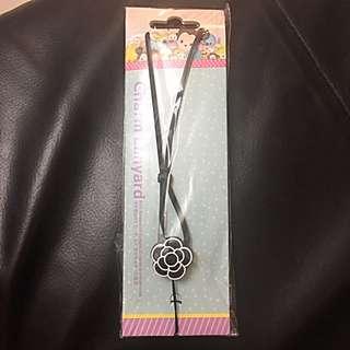 黑色花花 電話繩/ 掛繩