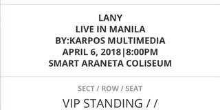 LANY TICKET VIP-STANDING(DAY2 CONCERT APR6,2018)