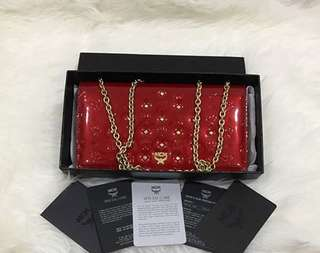 Authentic MCM Ivana Feather Clutch & Shoulder Bag