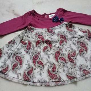 0-3 months XXS girl dress maroon