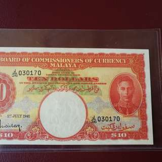 Very deep red variety Malaya 1941 $10 gem unc scarce