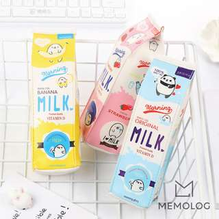 OFF Morning Milk Carton PU Leather Pencil Case Cosmetic Pouch