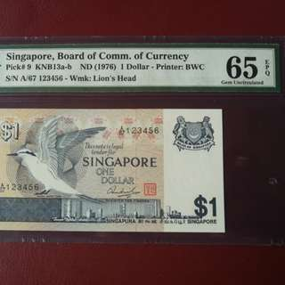 Singapore bird $1 ladder sn 123456 mpg graded 65EPQ