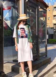 🚚 韓系 女孩超長版連身洋 長版上衣