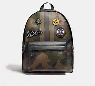 Coach Charles Varsity Dark Green Camo Backpack