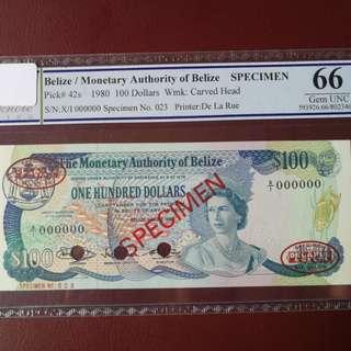 Belies $100 1990 TDLR specimen unc