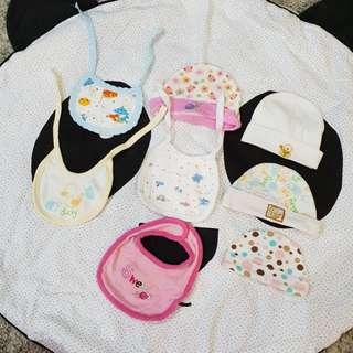 {8 items-$3} beanie, hat, bibs