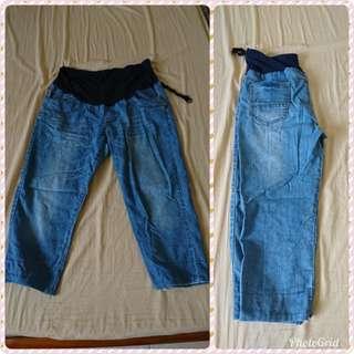 孕婦牛仔七分褲(XL)