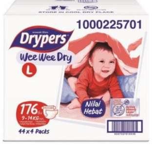 Drypers Wee Wee Dry L44 X 4pack (176 pcs) #bfkids