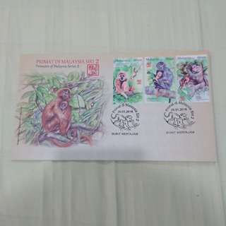 Primates of malaysia series 2 first day cover
