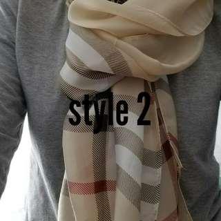 Burberry, Gucci, Chanel scarfs