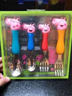 🔅全新🔅佩佩豬304不鏽鋼餐具4件組